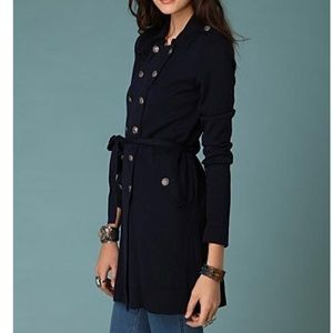 Free people navy trench sweater cardigan M